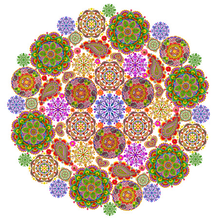 finde: Mandala - spiritual and ritual symbol in  Buddhism, made  from small floral mandalass. Isolated abstract collage. All full size images you can finde in my portfolio.