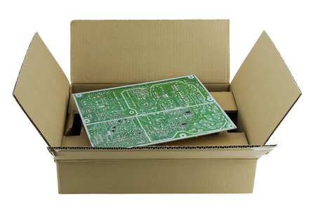 cardboard only: Industrial cardboard  box packing for the big printed circuit board. No logos or trademarks.  Only standard electric position designations. Isolated with patch