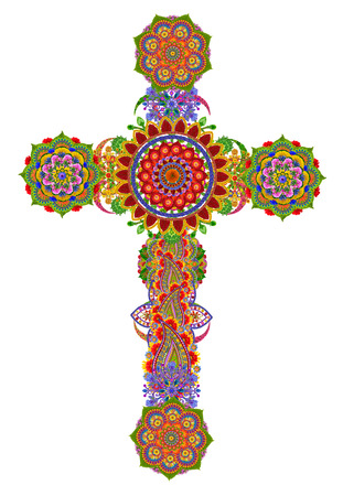 god: Sacred gentle cross of my God and Messiah Jesus Christ made from summer flowers. Isolated handmade collage