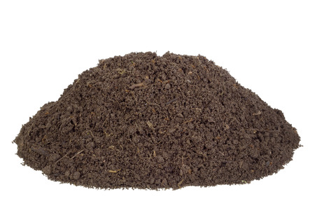 humus soil: Big heap real soils of compost. There are live insects and the rotted  parts of plants Stock Photo
