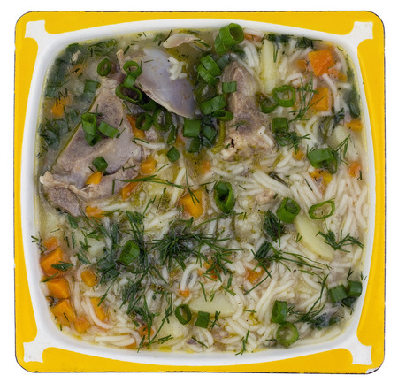 high calorie: Simple high calorie fat hot  rural pork ribs soup. With vermicelli, carrot, green onions and fennel. Top view. Isolated Stock Photo