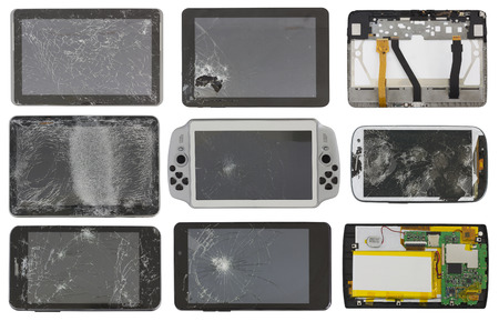 faulty: Set of the broken unusable faulty personal electronic devices and gadgets. Mass production, Isolated on white collage