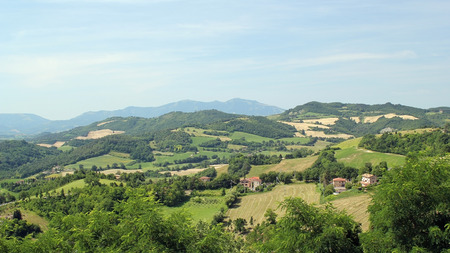 italian landscape: Typical standard mountain rural Italian landscape. Sunny summer day Stock Photo