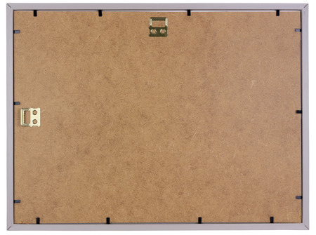 fibrous: Simple photo frame is made  of fibrous wooden stuff . Isolated back side view Stock Photo