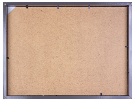 fibrous: Simple gray photo frame is made  of fibrous wooden. Isolated back side view