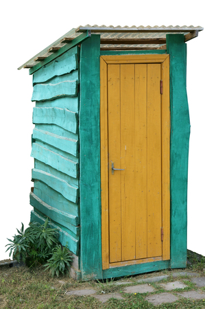 latrine: Blue wooden rural handmade  forest toilet with a yellow door. Isolated object  for  HalloweenSingular Halloween Plural Halloweens collages Stock Photo