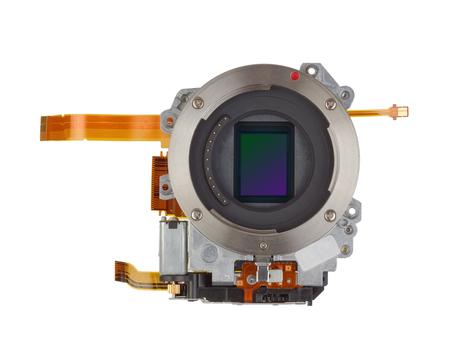 silicon: Foto sensor de semiconductor de silicio sensible de la cámara digital moderna producción en masa. Aislado Foto de archivo