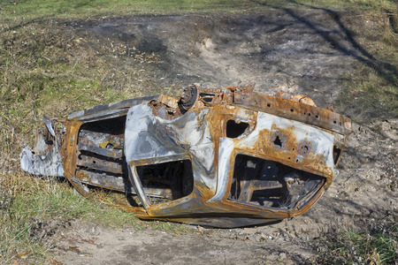 turned: The stolen turned burned car in a ditch after accident crash