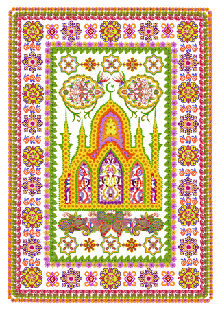prayer rug: Rug for a islamic prayer in Persian  Sunflowers  style. Abstract handmade collage from summer flower on white background Stock Photo
