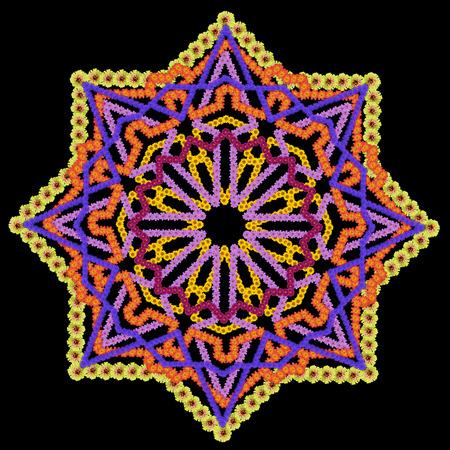 octogonal: elemento básico de la alfombra persa negro de la estrella octogonal rug-. Aislado Collage hecho a mano abstracto de las flores de verano