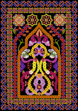 prayer rug: Rug for a prayer in Persian  Islamic style. Abstract handmade collage from summer flower on black background