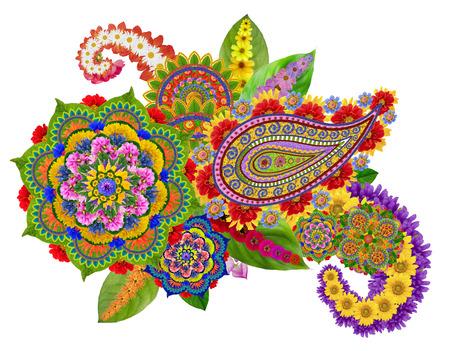 universal love: Dios universal Mandala - símbolo espiritual y ritual en la religión mundial. aislado abstracta hecha a mano del collage de las flores de verano
