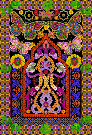 oriental rug: Rug for a prayer in Persian Butterfly style. Abstract handmade collage from summer flower on black background