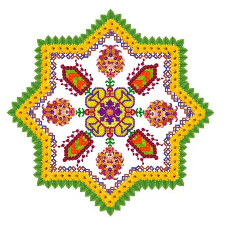 octagonal: elemento básico de la alfombra persa rug- octogonal estrella del diamante. Aislado Collage hecho a mano abstracto de las flores de verano Foto de archivo