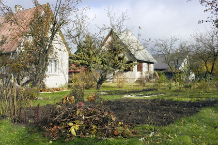 agrarian: The end of October in the poor agrarian agricultural  european village landscape
