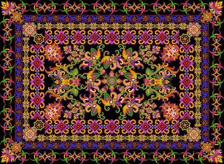 prayer rug: Rug for a prayer in floral Turkish  Islamic style. Abstract handmade collage from summer flower on black background Stock Photo