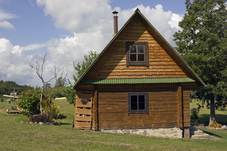 batch: VILNIUS, LITHUANIA - AUGUST 29, 2015: Standard  wooden  rustic batch in  tourist camping in the national forest nature park. In a year Lithuania is visited by more than 2 million tourists from Europe and America Editorial