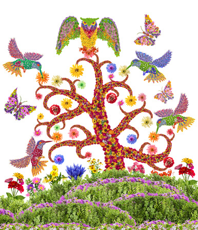 garden of eden: Paradise heavenly garden concept. Fantastic  humming - birds,  owl and butterflies fly over the blossoming tree. Isolated naive handmade photo collage from summer flowers Stock Photo