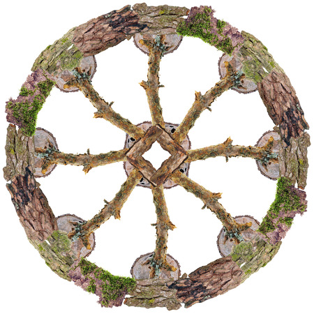 Dharmachakra - Sky Wheel-  oldest known Buddhist of infinite perfection and destiny  symbol. Isolated handmade abstract collahe made from dry trees branches and bark Banco de Imagens