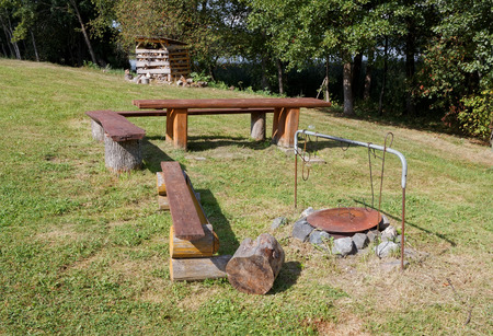 coppers: The ideal place for a tourist fire and coppers with food in the europan forest Stock Photo