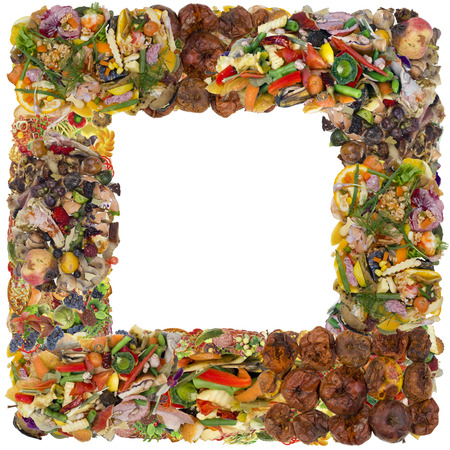 very dirty: Very bad rotten dirty smelly  old food phoro frame concept. Iisolated abstract collage Stock Photo