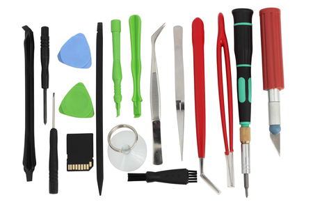 disassembly: Set of simple mini tools which are necessary at repair and disassembly  of modern mobile devices. Mass produktion, Isolated with patch