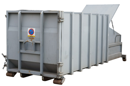 wastes: The standard  mobile, steel gray container for collecting industrial and building wastes. Isolated Stock Photo