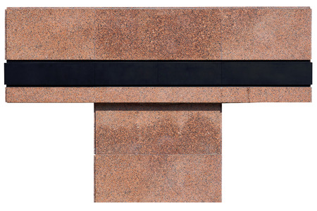 no name: The no name monument from red granite is stylized under a cross. On a stone there is a black metal strip for an epitaph. Isolated on white.