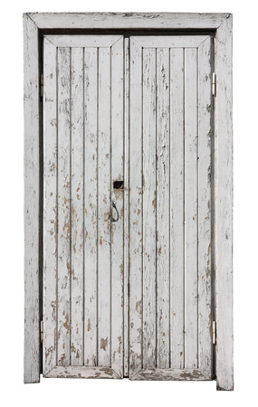 aged wood: The ragged wooden door when that has been painted with white. Isolated on white