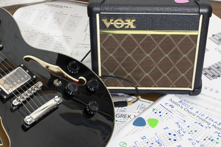 amplification: VILNIUS, LITHUANIA - APRIL 10, 2016: For house exercises the young guitarist uses the VOX brand amplifier. The producer of the professional musical equipment VOX has been founded in 1956 Editorial