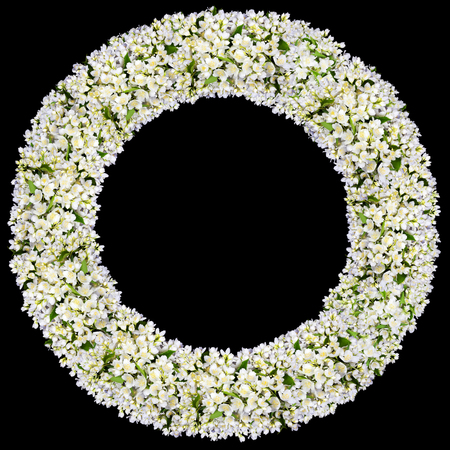 buttonhole: Tragic round funeral buttonhole frame  from white  jasmine flowers. Isolated on black
