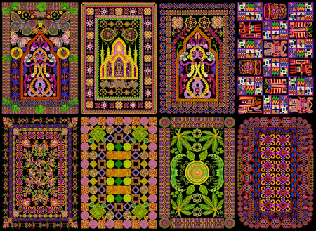 finde: Rugs for a islamic prayers  in Persian style set. Abstract handmade collage from summer flowers isolated on black. All full size images you can finde in my portfolio