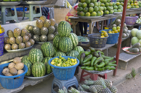 fruit trade: Retail trade in exotic fruit and vegetables on one of streets of the capital of Ghana