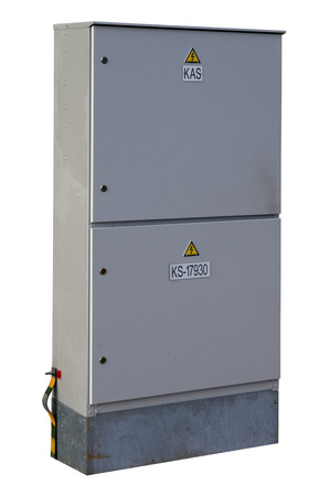 metal box: Gray metal box for electric power counters in agriculture. Isolated