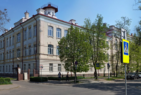 faculty: VILNIUS, LITHUANIA - MAY 09, 2016: The main building and the central entrance of Medical faculty of the Vilnius State University on Basanaviciaus Street. Date of creation of faculty - on November 24, 1781