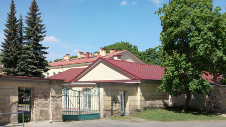faculty: VILNIUS, LITHUANIA - MAY 23, 2016: Gate of a backyard and economic constructions of Medical faculty of the State University on Chiurlionis Street. Date of creation of faculty - on November 24, 1781 Editorial