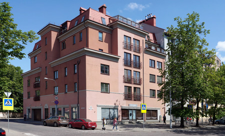 elite: VILNIUS, LITHUANIA - MAY 23, 2016: After repair and restoration in the old house on Street Churlinio number 19 elite expensive magnificent apartments and offices are made. Sunny May day Editorial