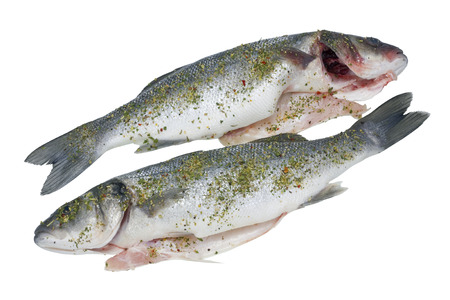 strewed: The fresh cleared sea grouper fish ( Seabass, Old Salt )  is prepared for roasting -  is watered with a lemon, salted, strewed with pepper and spicy herbs. Isolated with patch