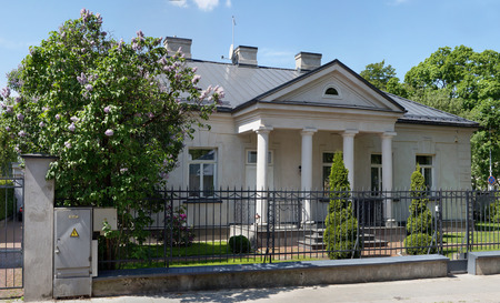actively: VILNIUS, LITHUANIA - MAY 23, 2016: The small palace number 12 in classical style on the street of a name of the great Lithuanian poet of Jovaras. Jovaras actively fought against the Russian  imperial mode in 1897-1904 Editorial