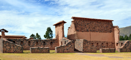 sacred valley of the incas: CUSCO, PERU - JUNE 06, 2016: Historical ruins of a fort and church of  Spanish conquerors in Sacred Valley of Incas. Spanish Empire conquered the region in the 16th century and established a Viceroyalty with its capital in Lima