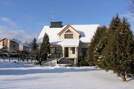 mentioned: VILNIUS, LITHUANIA - JANUARY 17, 2016: The uninhabited elite house and garden in the village of Buividiskes are brought by cold snow. This name is already mentioned in chronicles of 1593 Editorial