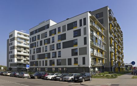 modular home: VILNIUS, LITHUANIA - JUNE 26, 2016: The new modern standard modular house with low cost small-sized apartments for young families. It is the ecological region of Pilaite of the Lithuanian capital Editorial