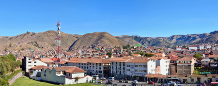 conquest: CUSCO, PERU - JUNE 04, 2016: Modern center of historical Cusco city. Is the  capital of  Peru Inca Empire from 13th into the 16th century until Spanish conquest.  In 1983 Cusco was declared a World Heritage Site by UNESCO.