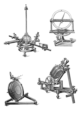 MOSCOW, RUSSIA - SEPTEMBER 15, 2014: Vintage geodetic and astronomical devices of the nineteenth century. An engraving illustration from the Russian  dictionary  published in 1905. Isolated Editorial