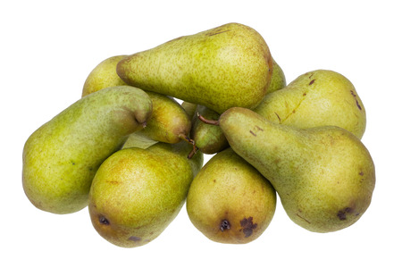 grown up: Heap of big yellow sweet pears of a grade of Conference. Fruit are grown up without chemicals in the Ukrainian village. Isolated on white