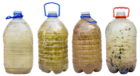very dirty: Very dirty dangerous water in plastic bottles isolated set