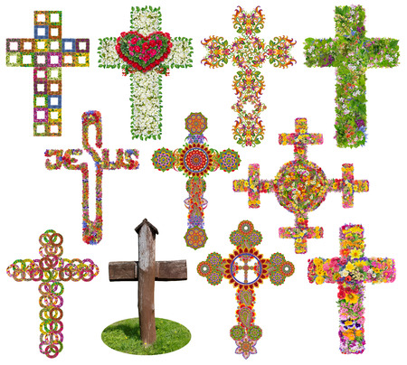 Jesus floral crosses set. Isolated on white  handmade abstract collage from summer flowers and green leaves. Full size images in my portfolio