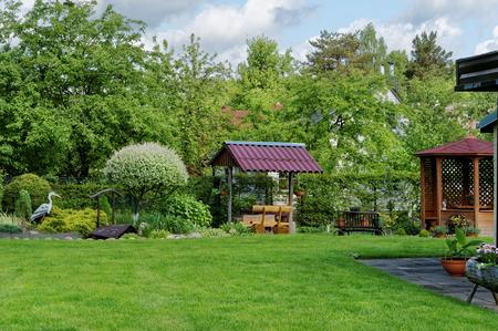 Een deel van een groene Europese decoratieve dorpstuin met een groen gazon, bloemen en struiken. Zonnige dag zomer landschap
