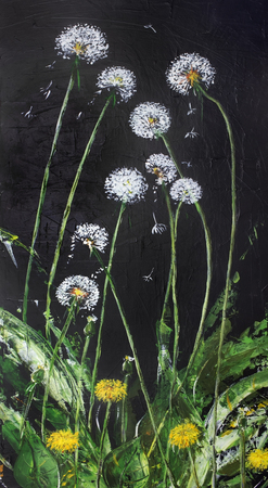 danced: June dandelions are danced at night. Abstract handmade acrilyc illustration on canvas. Vertical panel composition
