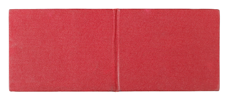 The back cover of the standard Soviet certificate of the employee of special service is made of artificial red leather. Isolated on white Stock Photo